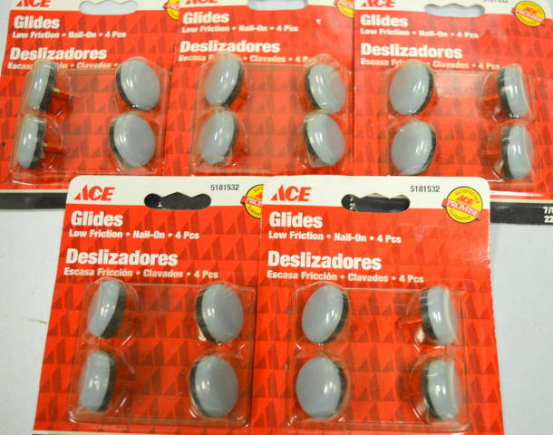 "Ace Glides #5181532 Low Friction, Nail On, 4 per pack - 7/8"" Round - 5 packs."