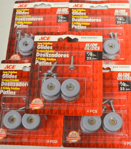 """Ace Slide Glides #5181417 Low Friction-7/8"""" Round 4 per pk - 5 packs"""