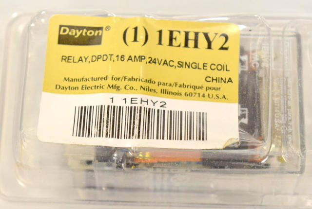 Dayton #1EHY2 Realy, DPDT, 16 Amp, 24 VAC, Single Coil.