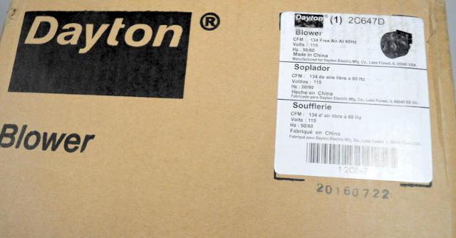 Dayton 2C647D Shaded Pole 1/70hp PSC Blower 1350/1550rpm 115v 134 CFM