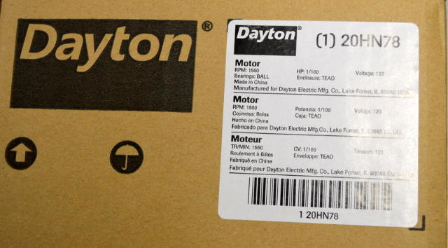 Dayton #20HN78 HVAC Motor, 1/100 PH, 1550 RPM, Type PSC, 120V,60Hz PH 1