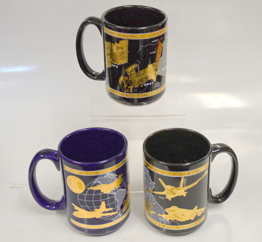 3 Mugs Commemorating Desert Storm and Shield/U.S. Airforce and 2/27/1991