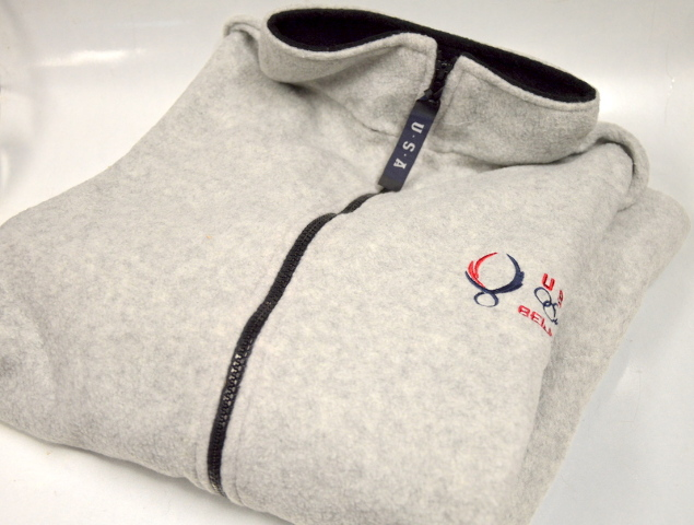USA Beijing Polyester Fleese Jacket in XXL in Gray with Logo