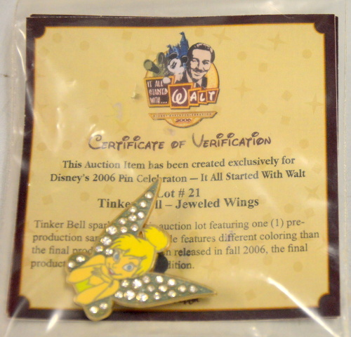 Tinker Bell -Jeweled Wings - with Certificate of Verification 2006 Disney