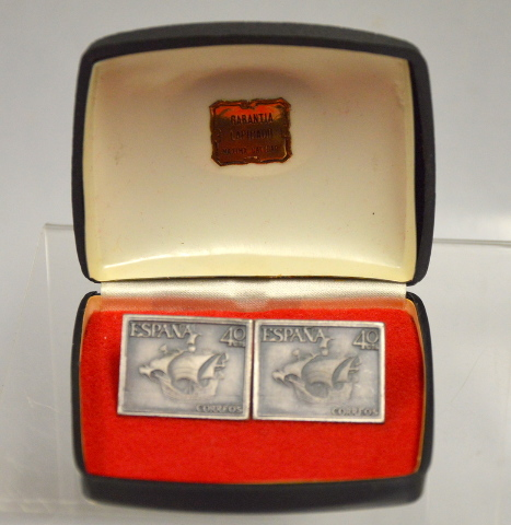 Spain Espana Square Cuff Links - Espana 40 cts - Correos