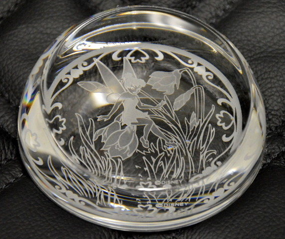 Tinkerbell Etched Crystal Paperweight - Disney and Arribas Brothers Design