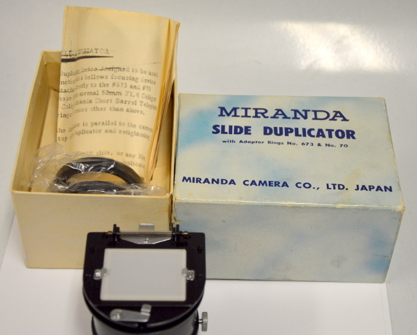 Vintage Miranda Slide Duplicator with Adapter Rings No.673 and No. 70 -New old stock