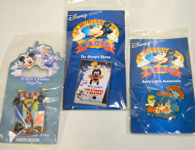 3 Disney Goofy Pins: 70th Anniversary, The Olympic Champ and The Amazing Goofy