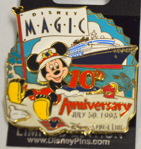Disney Pin 62693 Mickey DCL White Glove 10th Anniversary LE Magic Cruise Ship