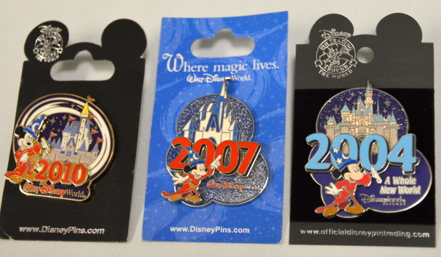 Disney Pins: 3 Sorcerer MIckey and Cinderlla's castle 2004 , 2007 and 2010-New