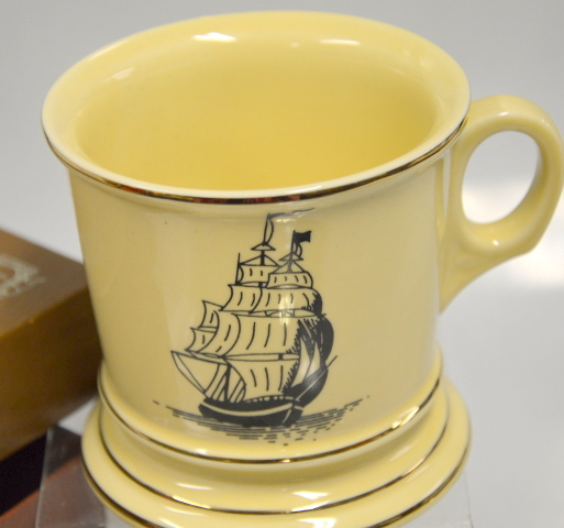 Mohawk Mug for Men - Gold rim on cream color mug with a picture of a saliling ship.