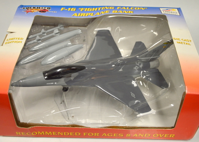 "Lockheed F-16 ""Fighting Falcon"" Airplane Bank 12"" x 9""  #46007 - NIB"