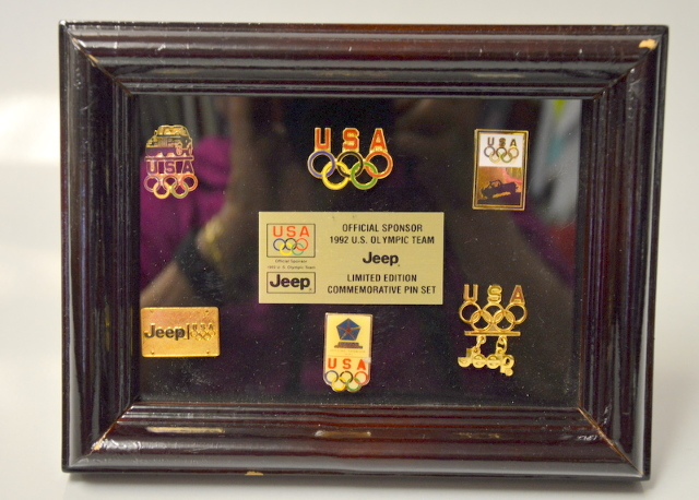 "1992 U.S. Olympic Team ""Jeep"" LE Commemorative Pin Set.  Framed."