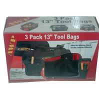 """AWP 3 Pack 13"""" Tool Bags #2L-22313VP - New"""