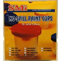 No spill paint cups-10 pc-white-by School Mate Inc.-New