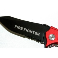 "4 3/4"" Closed Red Aluminum handle ""Fire Fighter"" knife.  New."