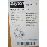 Dayton Capacitor Start Motor #24C178, 1/4HP, 3450RPM,115/230V, 60HZ
