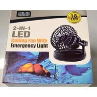 2-IN-1 LED Ceiling Fan w/Emergency Light-72 Lumens/18 LED's by ThinkTank Tech.