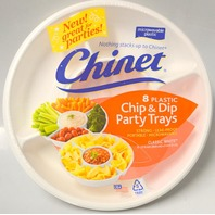 Chinet 8 Plastic Chip & Dip Party Trays - Microwavable -8 trays - White.