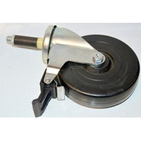 "1-Shepherd Regent Series 5"" Diameter #103410  Polyolefin Wheel Swivel Caster with Tread Brake, Expanding Adapter Stem, 150 lbs Capacity"
