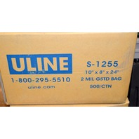 "Uline Poly Bags 10"" x 8"" x 24"", 2 mil, Gusseted Poly Bags, Total of 500"