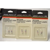 Mini-Maglite Vacuum Flashlight Lamps -2 lamps size AAA - 3 packs - New.