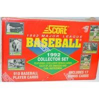 Score 1992 Major League Baseball Collector Set - 910 cards & includes 17 Bonus Cards.