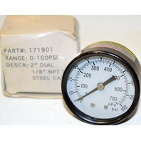 "Air Gauge - 1/8"" MPT CBM/Steel Case, Range 0-100PSI Part #171901 kPa 0-700"