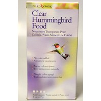 Gardensong Clear Hummingbird Food, 8 oz box, no color added, all natural.