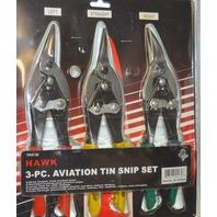 Hawk 3 pc Aviation Tin Snip Set - Drop Forged, Heat treated jaws