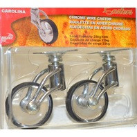 "Select Designer Casters-2 Pk-2"" 50mm Chrome Wire - see thru wheels #03393"