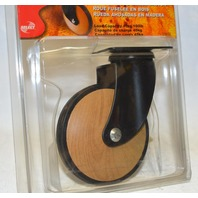 Select Designer Casters - 4 casters - Swivel w/plate mount - wood grain. #03632