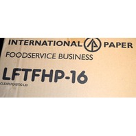 International Paper flat clear hot food container lids-6-16 - 1000 pcs. #LFTFHP-16