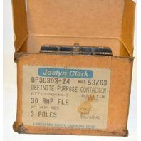 Joslyn Clark Definite Purpose Contactor #DP3C303-24 / 30 amp fla, 3 poles, 24v.