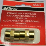 "Milton #s643 Female Hex Coupling - 1/4"" NPT"