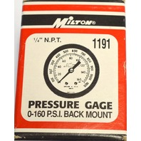 "Milton #1191 Pressure Gauge, 1/4"" NPT - 0-160 PSI back mount."