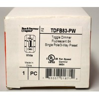 Pass & Seymour  Legrand #TDFB83-PW Toggle Dimmer,Fluorescent 8A,Single Pole