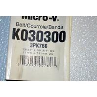 Gates K030300 Belt- Alternate #3PK766 -Micro-V Belt New Old stock