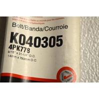 Gates K040305 - Alternate Number 4PK778 - Micro-V Belt New Old Stock