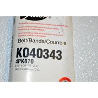 Gates K040343 - Alternate Number 4PK870 - Micro-V Belt  New Old Stock