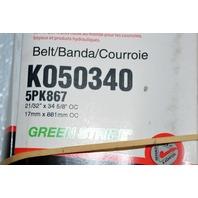 Gates K050340 - Alternate # 5PK867 - Green Stripe Micro-V Belt- New Old Stock