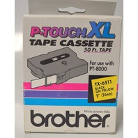 "Brother P-Touch XL Tape Cassette 50'x1"" - TX-6511 for PT-8000 Black on Yellow"