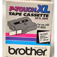 "Brother P-Touch XL Tape Cassette 50'x1"" - TX1511 for use with PT-8000,Black on Clear"