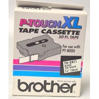 """Brother P-Touch XL Tape Cassette 50'x3/4"""" TX-2411 for use w/PT-8000, Black on White"""