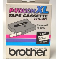 """Brother P-Touch XL Tape Cassette 50'x1/2"""" TX2311 for use w/PT8000, Black on White"""