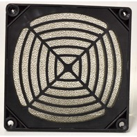 "3 1/2"" Square Plastic Cover w/Filter for Axial Fans. Color Black."