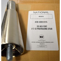 National #50203 - Commercail Legs for equipment - SS Hex Foot 1/2-13 Protruding stud.