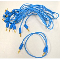 "10 pcs. Dual 2mm Mini Gold pin Banana Plug Jack Test Cable - 12"" Blue Cable"
