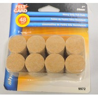 "Shepherd Felt Gard #9972,  1"" (25mm)-48 heavy duty felt pads - round w/sticky back."
