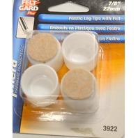 """Shepherd #3922 - Felt Gard - 7/8"""" White Plastic Leg Tips w/felt - 4 per pack."""